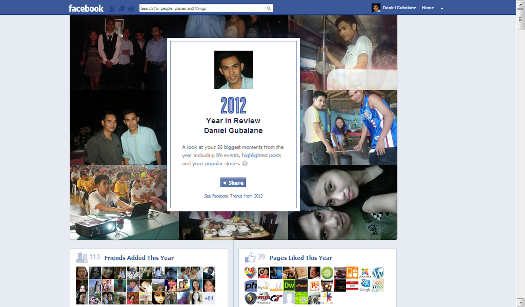 Facebook Year in Review 2012
