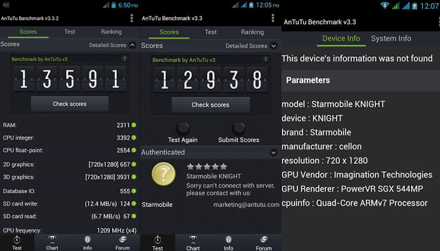 Starmobile Knight Antutu Benchmark Result