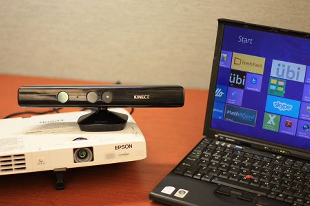 Projector, Kinect Sensor and Windows 8 Laptop