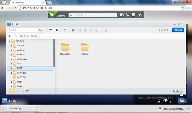 Airdroid Wireless File Transfer