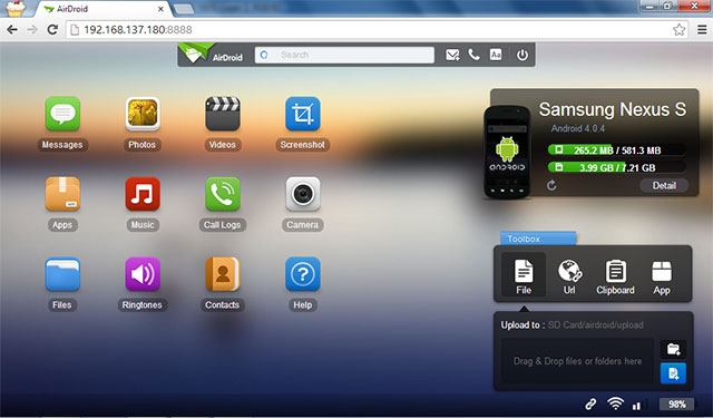Airdroid User Interface