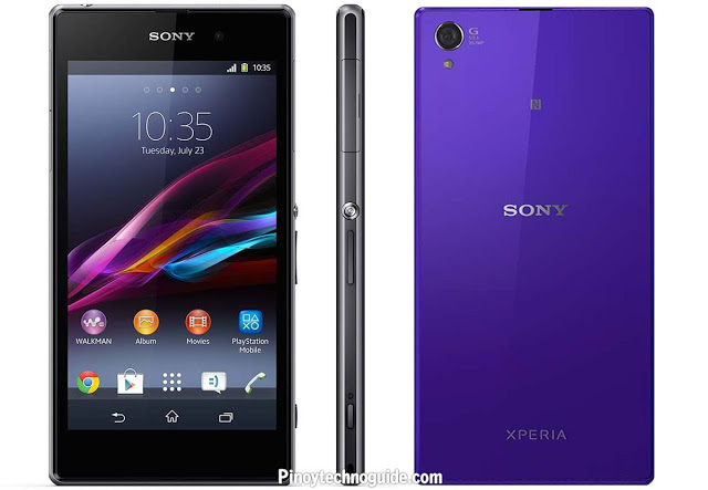 Sony Xperia Z1 Front, Back and Side View