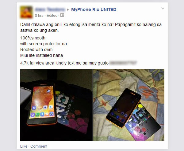 A MyPhone Rio user sells one of his units on Facebook.