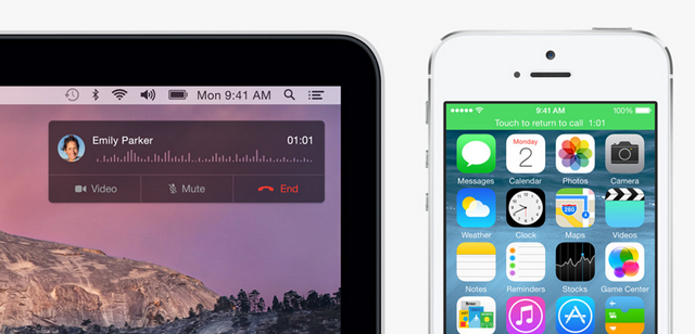 Taking an iPhone call using Mac OS X Yosemite