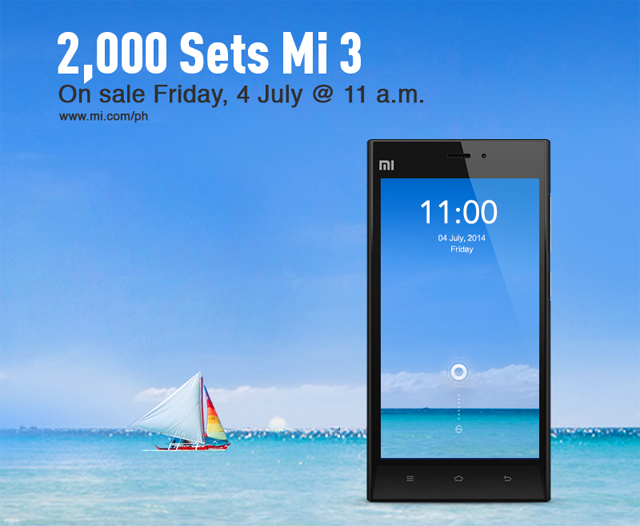 Xiaomi Mi 3 Philippines July 4 sale