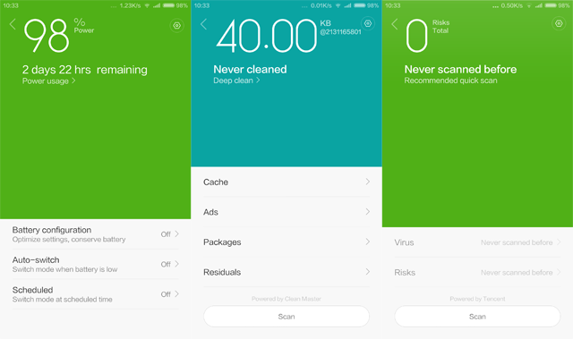 MIUI V6 Screenshot of Power Saver, Virus Scanner and Clean Master