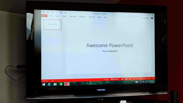 Powerpoint presentation using Microsoft Wireless Display Adapter