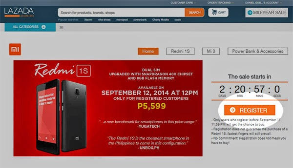Lazada register for Redmi 1S sale