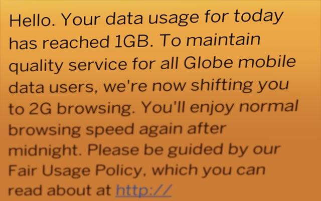 Globe-Data-Cap-Warning