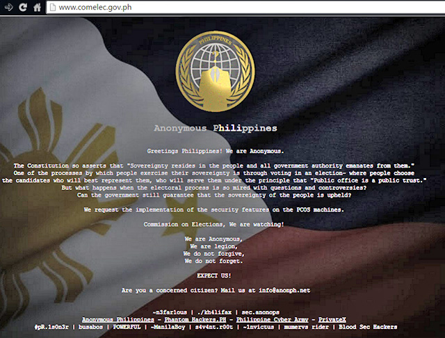 COMELEC Website defaced by Anonymous Philippines