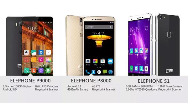 Elephone P9000, Elephone P8000 and Elephone S1.