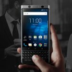 The BlackBerry KEYone flaunting its keyboard.