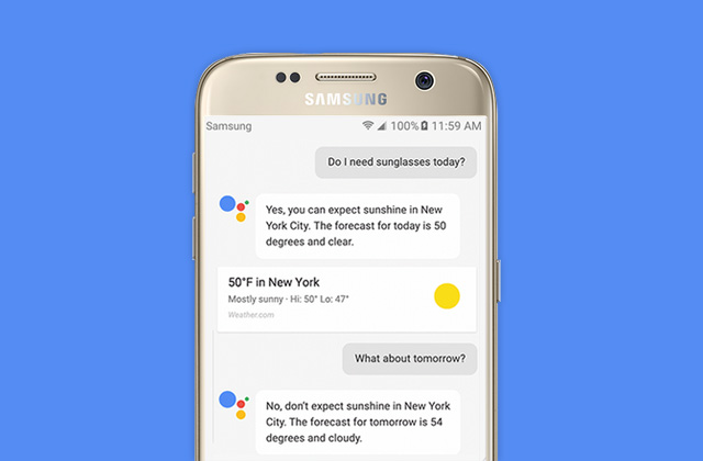The Google Assistant running on the Samsung Galaxy S7.