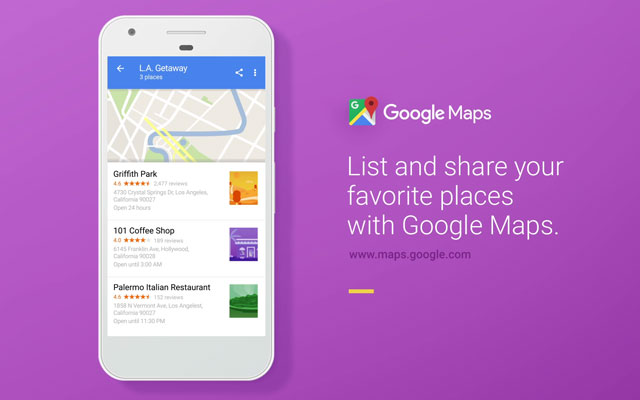 Shareable list of places on Google Maps.