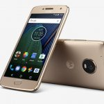 The Motorola Moto G5 Plus in gold.