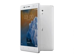 The Nokia 3 smartphone in white.