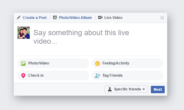 Click on Live Video to create a Facebook livestream.
