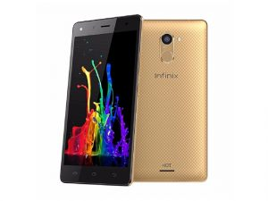 The Infinix Hot 4 Pro in champagne gold.