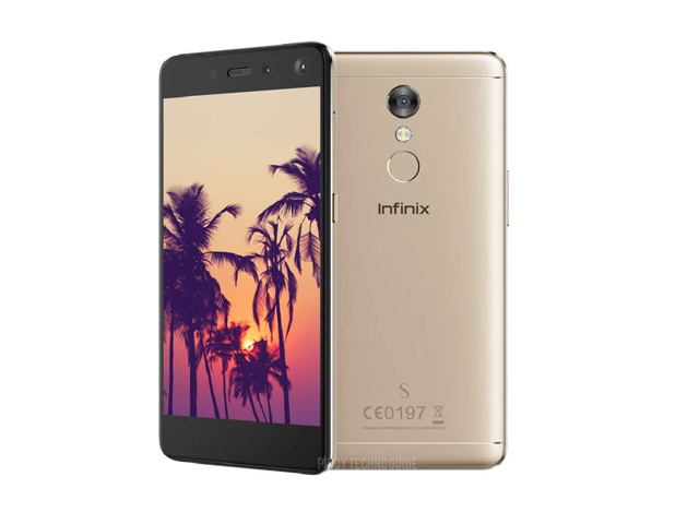 The Infinix S2 Pro smartphone in champagne gold.