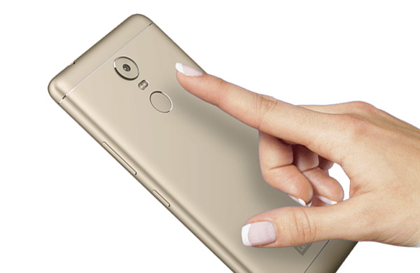 The Lenovo K6 Note has a fingerprint sensor below its main camera,