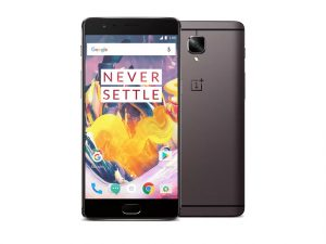 The OnePlus 3T smartphone in gunmetal gray.