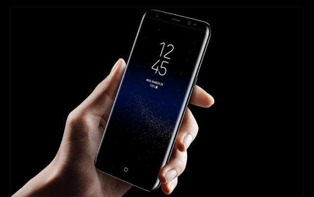 The Samsung Galaxy S8 in black.