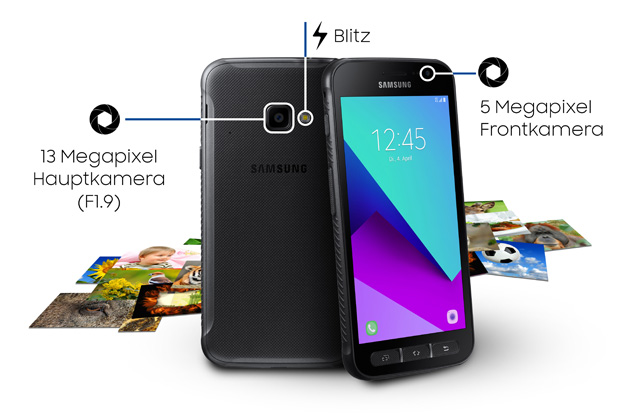 The cameras of the Samsung Galaxy Xcover 4 are highlighted in this photo.