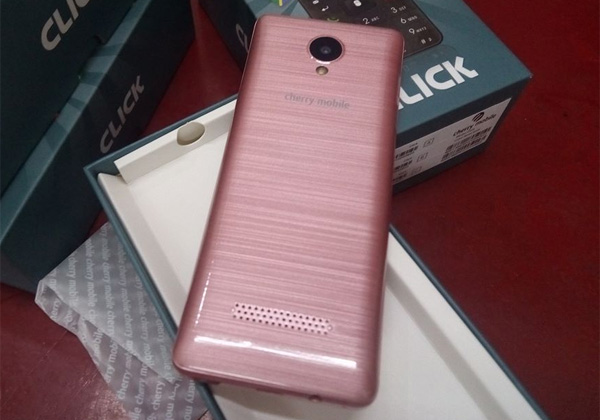 The Cherry Mobile Click (2017) has a brushed metal back cover design.