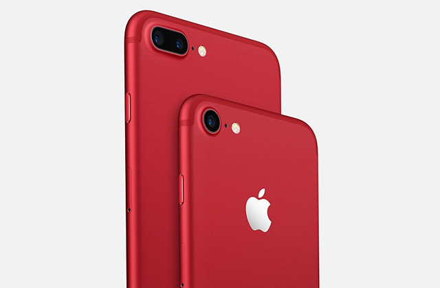 The iPhone 7 and iPhone 7 Plus in red.
