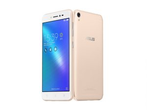The ASUS Zenfone Live smartphone in gold.