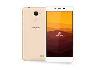 The Cherry Mobile Desire R7 Plus smartphone in gold.