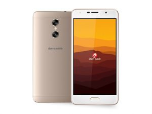 The Cherry Mobile Desire R8 smartphone in gold.