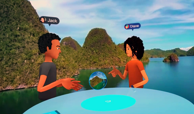 One of the Facebook Spaces demonstration.