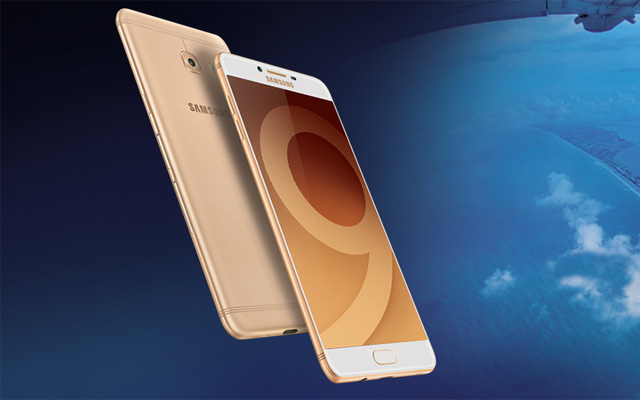 The Samsung Galaxy C9 pro smartphone in gold.