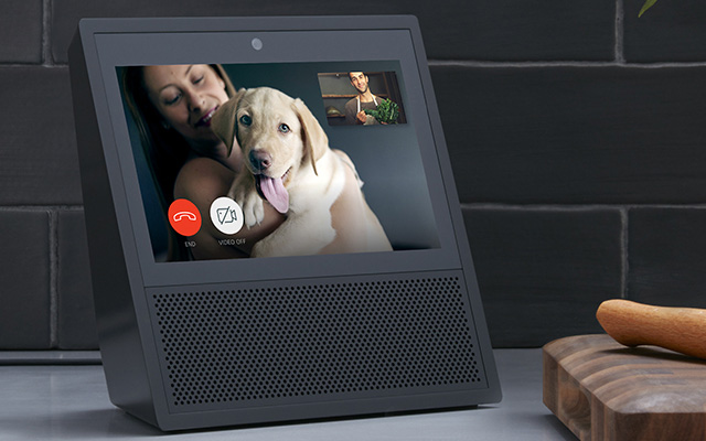 Video calling using the Amazon Echo Show.