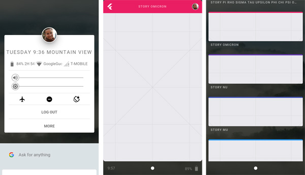 Fuchsia OS screenshots via Armadillo.