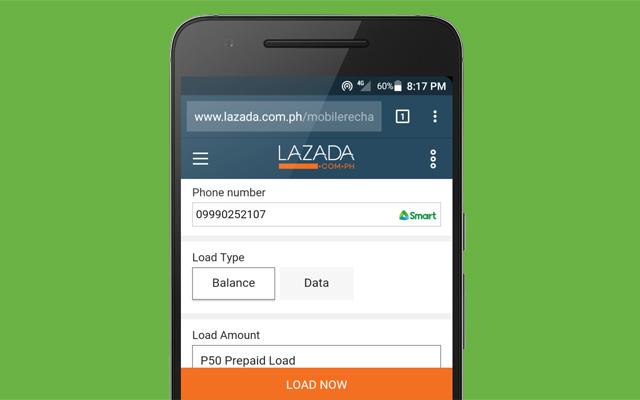 Buying cellphone load online on Lazada.