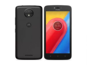 The Motorola Moto C smartphone in black.