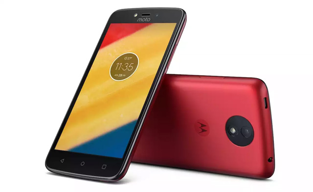 The Motorola Moto C smartphone in red.
