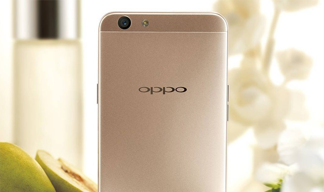 The OPPO F1s smartphone in gold.