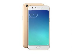 The OPPO F3 smartphone in gold.