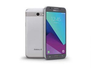 The Samsung Galaxy J3 2017 smartphone in silver.