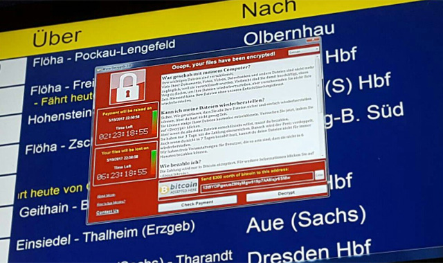 A WannaCry-infected train station computer in Germany.