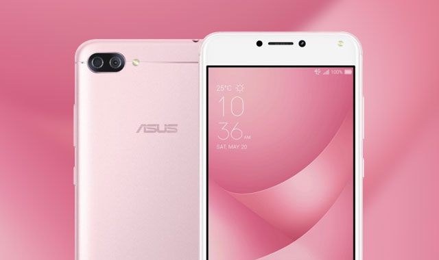 The ASUS Zenfone 4 Max smartphone in pink.