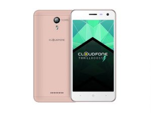 The Cloudfone Thrill Boost 2 smartphone in rose gold.