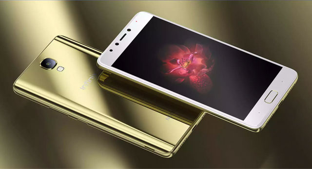 The Infinix Note 4 smartphone in shiny gold color.