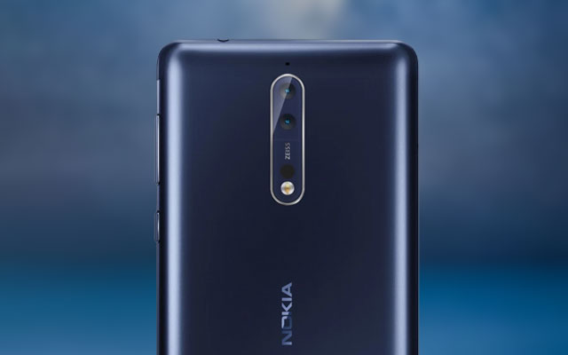 This is the dual rear camera of the Nokia 8 smartphone.