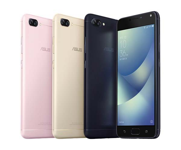 The ASUS Zenfone 4 Max in pink, gold and black.