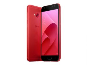 The ASUS Zenfone 4 Selfie smartphone in red.