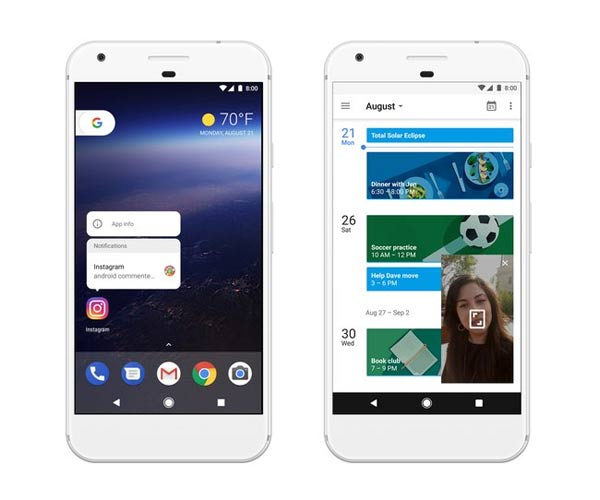 Long press notification and Picture-in-Picture mode on Android 8.0 Oreo.